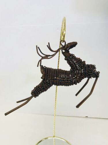 Christmas Ornament Reindeer Wire Holiday Brown Metal Decor