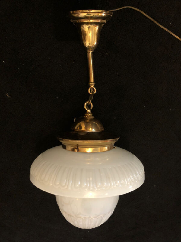 N21V Antique Brass Pendant Fixture With Fancy Milk Glass Shade