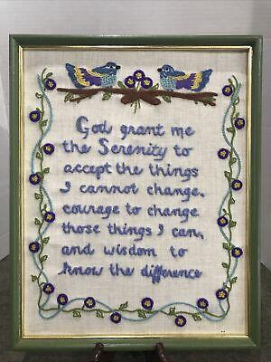 Vintage Crewel Embroidery Serenity Prayer Sampler With Flowered Border & Birds
