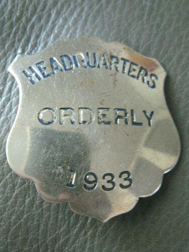 1933 ORDERLY Nurse HEADQUARTERS  Badge Pin HOSPITAL Army MILITARY San Francisco
