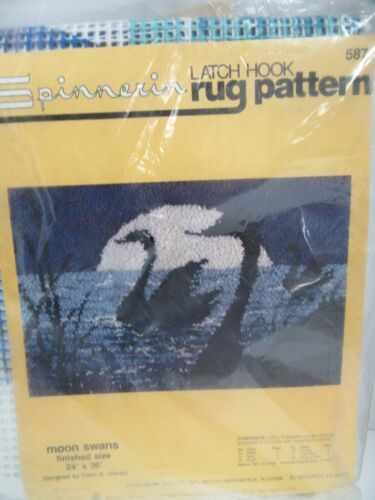 Spinnerin Latch Hook Rug Canvas Pattern 587 Moon Swans 24x36