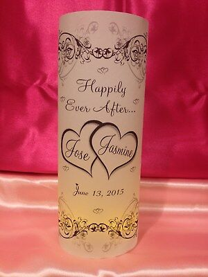 10 Personalized Double Hearts Wedding Luminaries Table Centerpieces Decorations - Wedding Luminaries