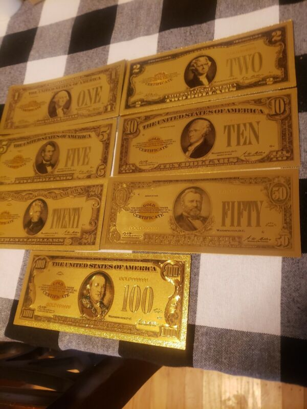 US Dollar Bills Circa 1920s Lot of (7) Gold/Green Color Money 1,2,5,10,20,50,100