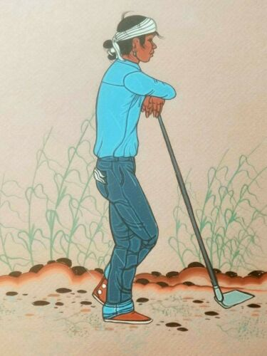 FINE BEATIEN YAZZ ORIGINAL PAINTING NATIVE AMERICAN NAVAJO MAN WORKING CORNFIELD
