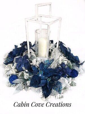 Christmas Lantern Floral Arrangement, Dining Centerpiece, Navy Blue Silver White ()