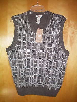 Plaid Sweater Vest (NWT NEW mens light taupe brown DOCKERS plaid front sweater vest $45)