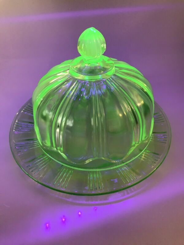 Vintage Green Uranium Glass Dome Butter Dish