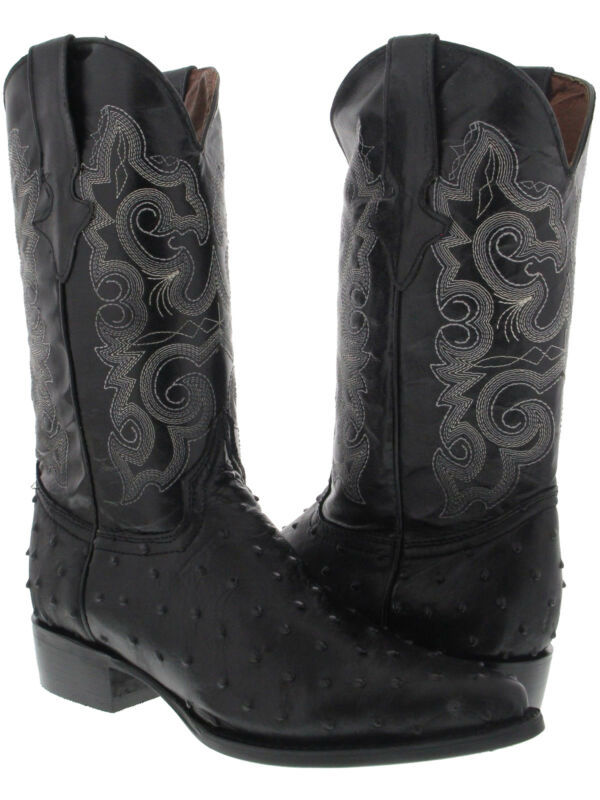 Mens, Black, Ostrich, Quill, Pattern, Western, Cowboy, Boots, Rodeo, Leather, J, Toe