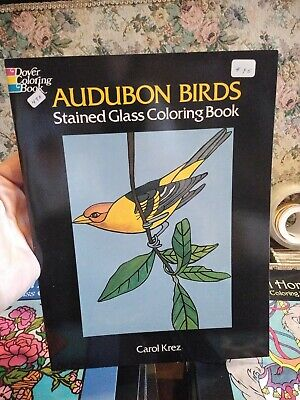 NEW - 1996 Audubon Birds Stained Glass Coloring Book Carol Krez  Audubon Birds Stained Glass