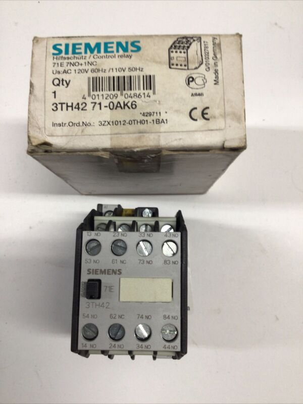 Siemens 3TH4271-0AK6 Control Relay, 120v Coil, (7-N.O./1-N.C.) 3TH42710AK6 NEW!!