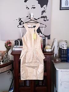Metallic Gold Peplum Bardot Dress Size 8 Eden Hill Bassendean Area Preview