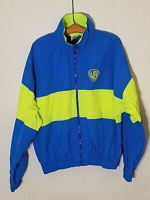 Vintage Warner Brothers WB Neon Blue Green Windbreaker Size XL Jacket 90s ()