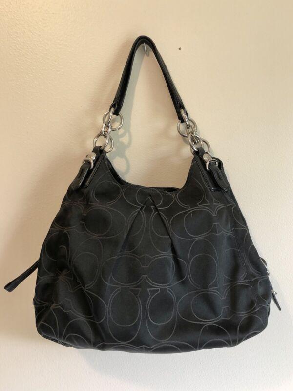 Black Coach Shoulder Bag - Slouchy Hobo Handbag Purse