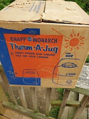 Vintage Knapp Monarch Therm A Jug One Gallon Thermos w Snap Out Cup
