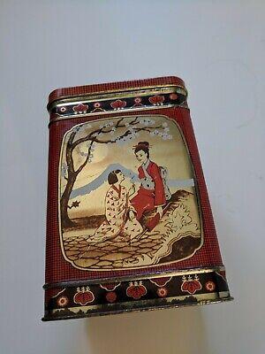 "Vintage Japanese Hinged Tea Tin Box Approx 5 3/4""H x 3 3/4""w"