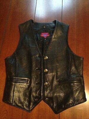 Genuine Black Leather Pebbled Soft Vest With Buffalo Nickel Style Buttons -