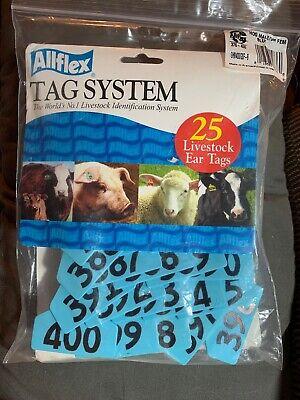 Allflex Global Hog Ear Tags With Buttons Blue 376-400 25ct Pkg