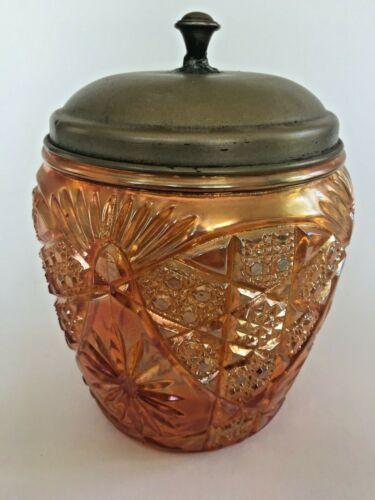 Vintage Carnival Glass Brockwitz Marigold Triple Alliance Biscuit Cookie Barrel