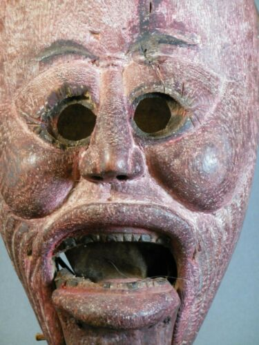 Antique Yao Mien Hill Tribe Shaman Exorcism Mask Custom Stand China