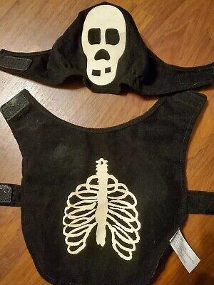 Dog Size Small Black Skeleton Halloween Outfit w/Matching - Matching Hunde Kostüm