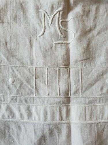 ANTIQUE Vtg LINEN Embroidered Sheet Blanket Cover Monogrammed M S 59x100