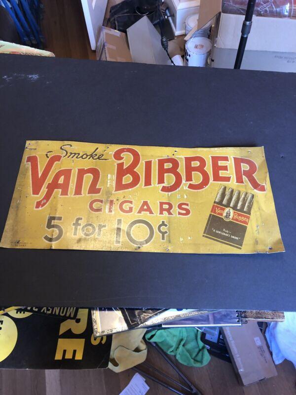 Van Bibber Cigars Tin Metal Sign, Early 1900s