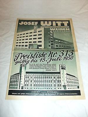 alte Original Reklame Katalog Preisliste Josef Witt Webwaren Versandhaus 1949-50