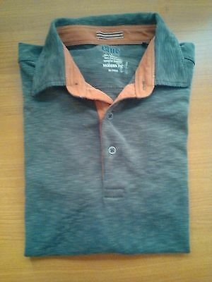 Pronto Uomo Polo Shirt Mens Short Sleeve Size L Brown Some Wear Modern Fit 23X29