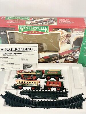 New Bright 1990s Wintersville Express Battery Operated Christmas Train Set