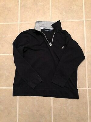 Nautica 1/4 Zip Pullover Sweater With Pockets Large Black Fits Like Medium