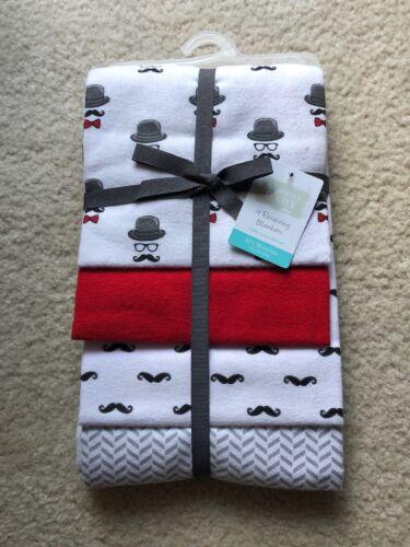 Hudson Baby Flannel 4 Receiving Blankets 100% Cotton Flannel