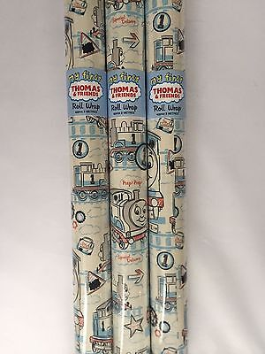 6M Thomas the Tank Engine WRAPPING PAPER by HALLMARK 3 X 2M ROLLS - BIRTHDAY   (Thomas Wrapping Paper)