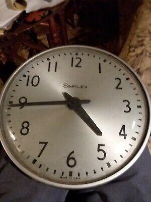 Vintage Glass Industrial Simplex school slave clock