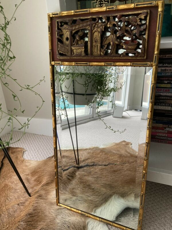Vintage Chinese Mirror w Bamboo Style Frame