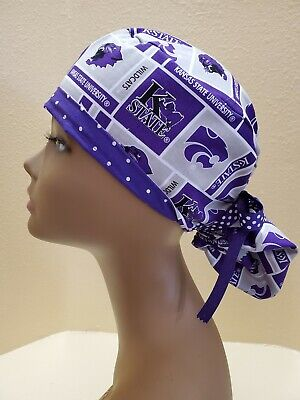 Kansas State University Women's Ponytail Surgical Scrub Hat/Cap Handmade State University Scrub Cap