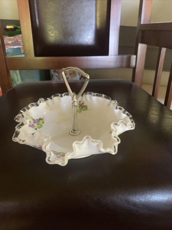 Vintage Fenton Hand Painted Violets in the Snow  , Silver Crest Milk Glass