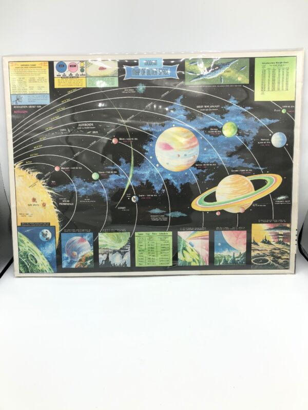 Modern Map Of Outer Space Rand McNally LITHOGRAPH 1958 MCMVIII USA