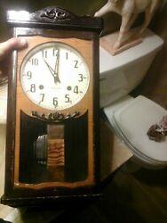 VINTAGE Seikosha Regulator Chiming Wall Clock Ash Wood (Seiko) - 1930s WORKS