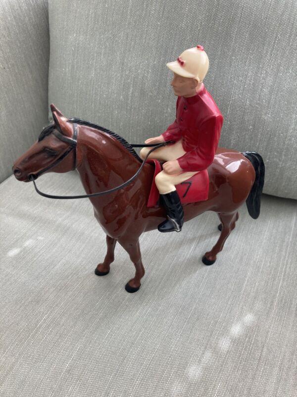 Hartland Turf King and Jockey Vintage Race Horse  Figurine w/Rider And Saddle