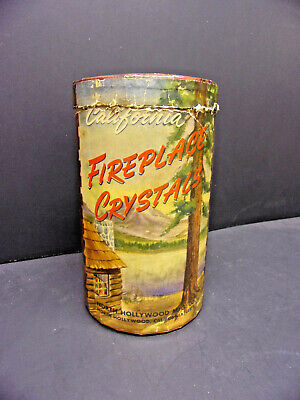 California Fireplace Crystals Cardboard Advertising Log Holder North Hollywood  - Cardboard Fireplace