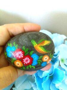 Original Hand Painted rock -  beautiful Hummingbird flowers stone paperweight