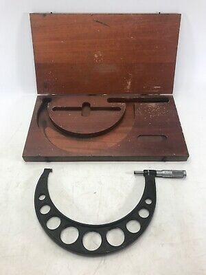 Vintage Brown Sharp Micrometer 7-8 With Wooden Case -- Made In Usa