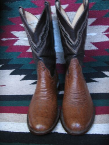 EXCEPTIONAL, EXOTIC, BROWN, &, TAN, FULL, QUILL, OSTRICH, ROPER, STYLE, COWBOY, BOOTS, 8.5D,