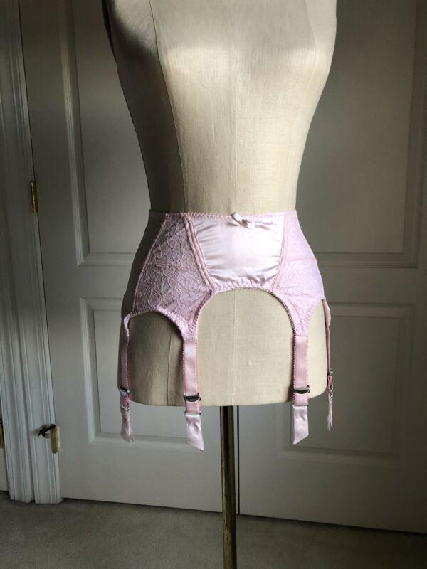 6 Strap Garter Belt Size Large Pink W/ Metal Garters By Secrets In Lace