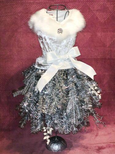 """New 26"""" BOUTIQUE DRESS FORM MANNEQUIN CHRISTMAS SILVER SALON DECOR CHIC FUR BOW"""