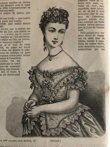 MODE ILLUSTREE SEWING PATTERN  Jan 19,1873-LOUIS XV BLOUSE, BALL, FICHU