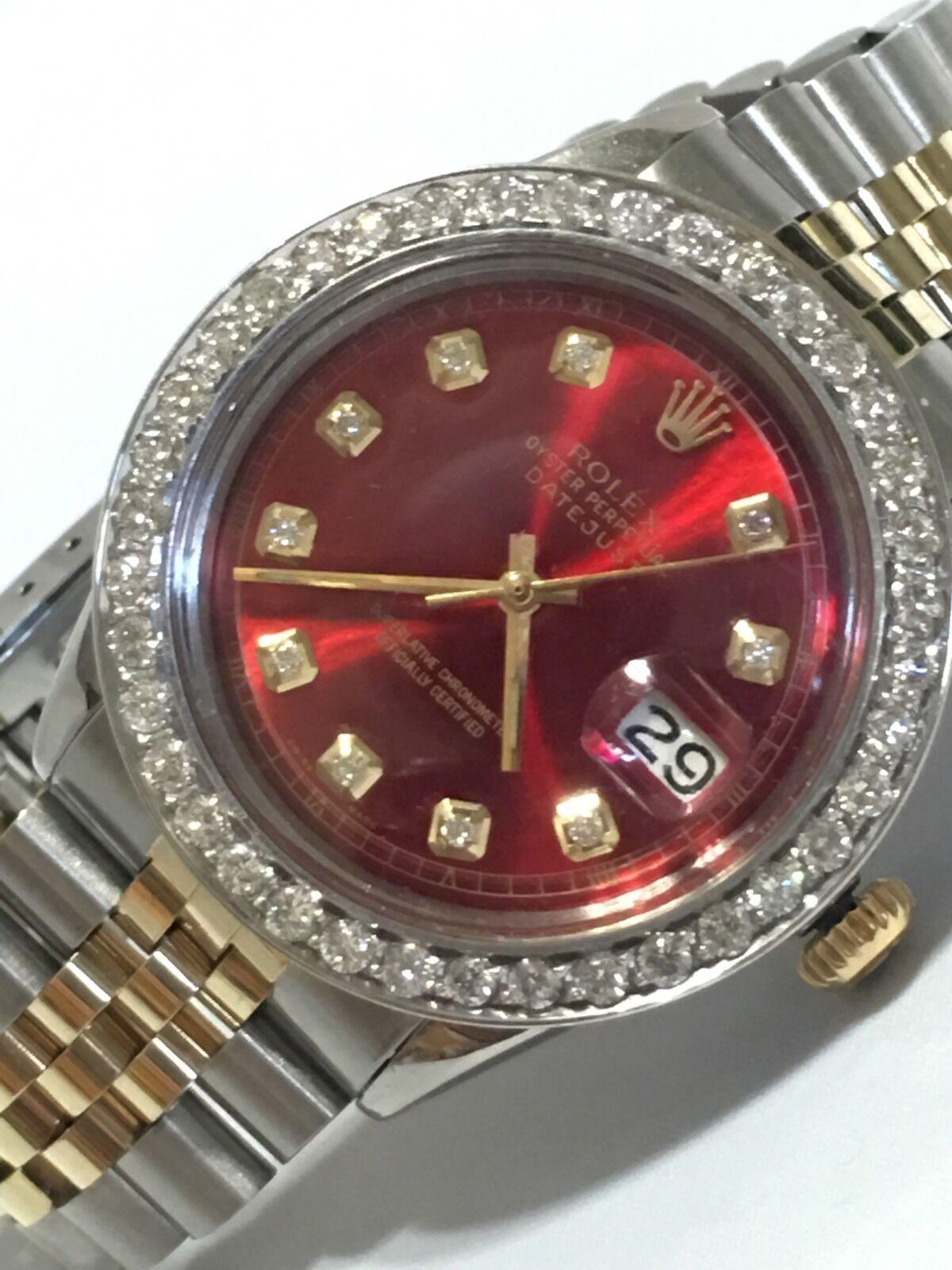 $3995.00 - Rolex mens two tone diamond dial diamond Bezel 36mm Datejust automatic watch