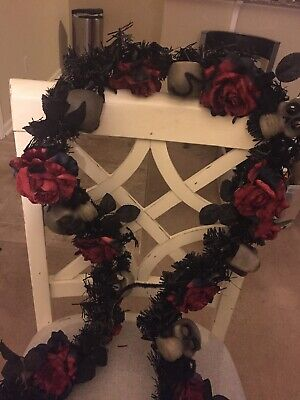 Halloween Garland with Red Roses and Skulls-