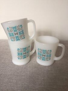Vintage Mid Century Fire King Blue Heaven Milk Glass Mugs