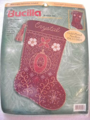 Holiday Elegance Stocking Beaded Felt Stitchery Kit Bucilla 84306 New
